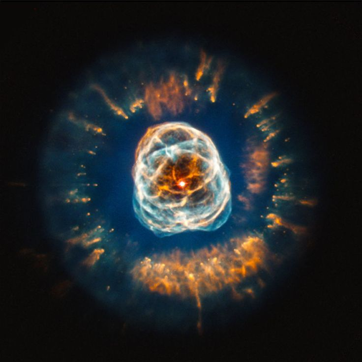 This image of planetary nebula NGC 2392 uses data from the Hubble Space Telescope to show the intricate pattern of the outer layers of the star that have been ejected. Image released July 11, 2013.