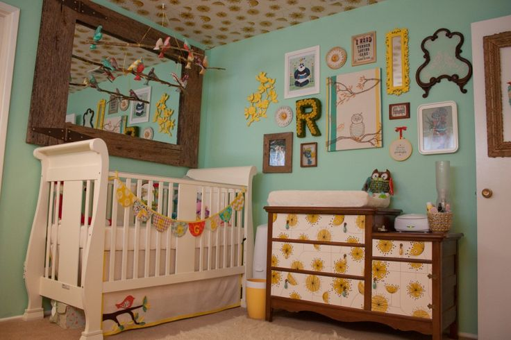 #yellow #baby #nursery would never wallpaper a ceiling..but its cute!: Wall Colors, Wall Collage, Wall Decor, Eclectic Nurseries, Nurseries Rooms, Galleries Wall, Baby Rooms, Girls Nurseries, Rooms Decor