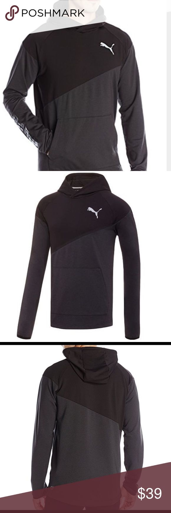 Puma Pullover Hoodie Look fresh and cool in this men's PUMA pullover hoodie and complete your workout style.  PRODUCT FEATURES  Reflective PUMA logo Dropped back hem 1-pocket Long sleeves Polyester, elastane Puma Shirts Sweatshirts & Hoodies