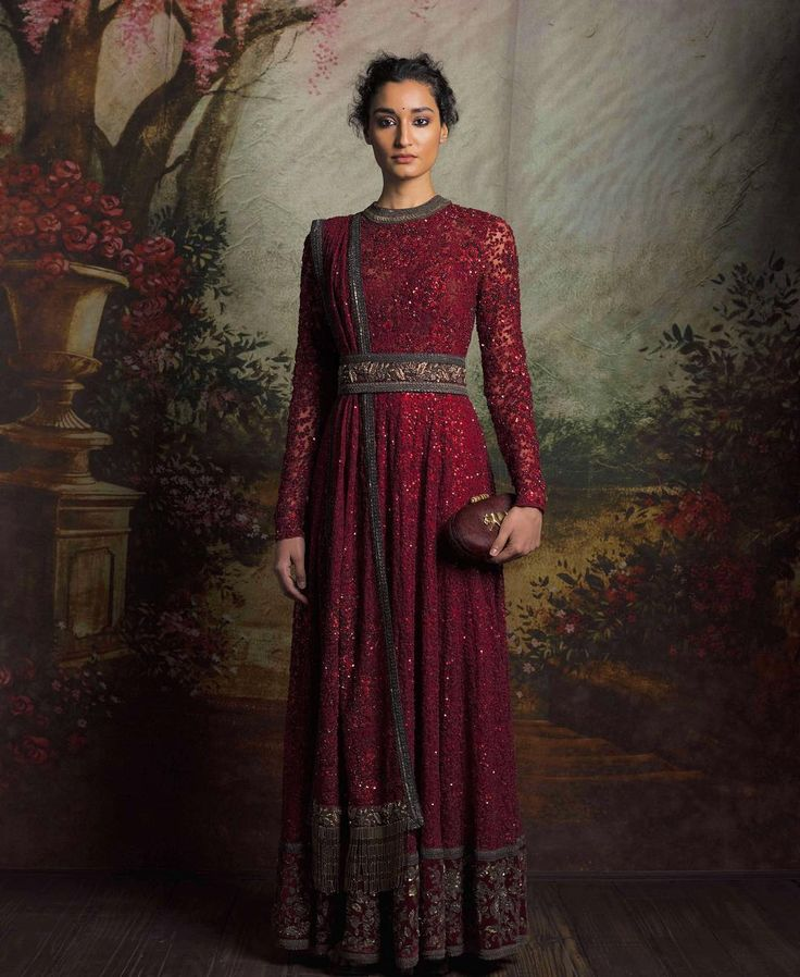 Maroon embroidered and sequinned anarkali gown with waist belt - Sabyasachi 2016