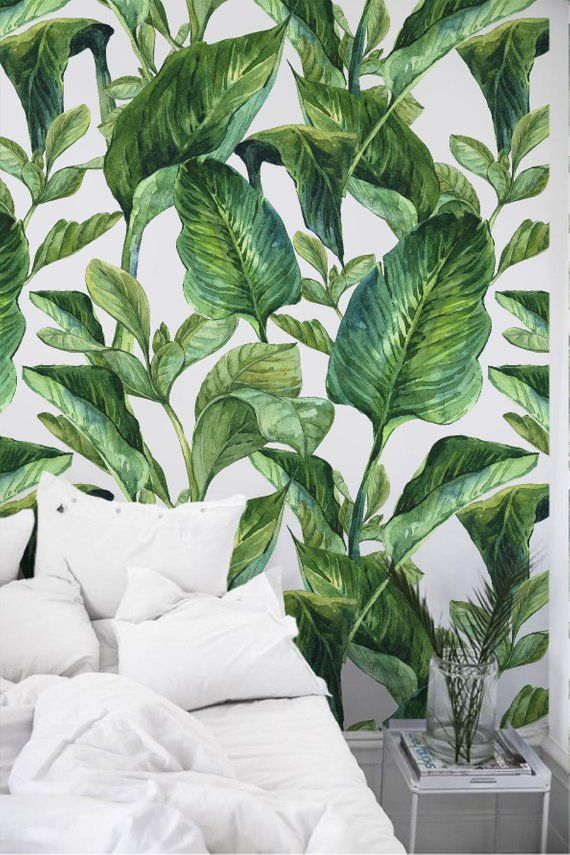 Removable Wallpaper With Banana Leaf Print Banana Leaves Peel Etsy In 2021 Leaf Wallpaper Wallpaper Bedroom Tropical Wallpaper