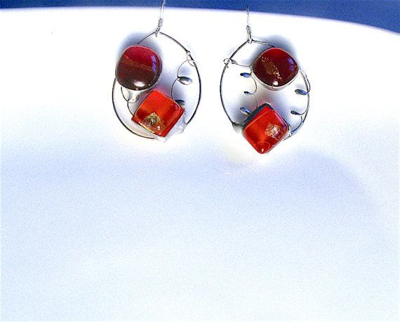 Artisan silver earringsoval earrings sterling silverfused