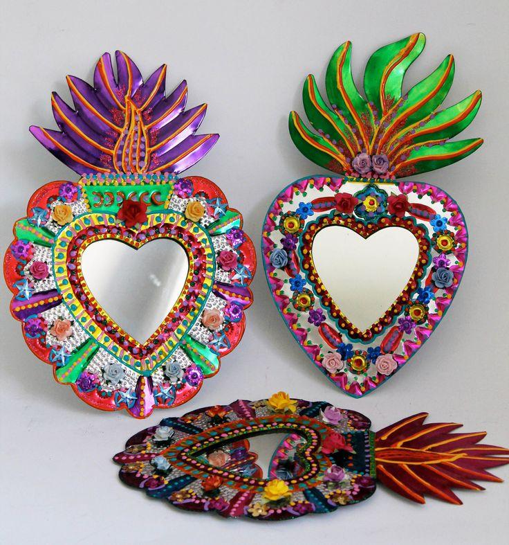 Sacred Heart tin metal mirror / Mexican folk art / bright colorful mixed media / rainbow silver / wedding gift. $36.00, via Etsy.