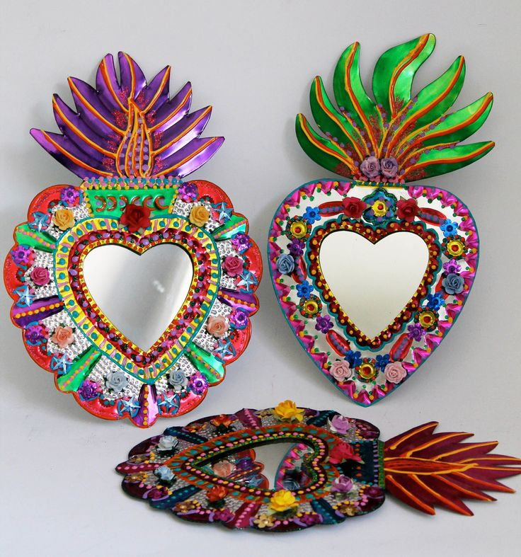 Sacred Heart tin metal mirror / Mexican folk art / bright colorful mixed media / rainbow silver / wedding gift. $36.00, via Etsy.