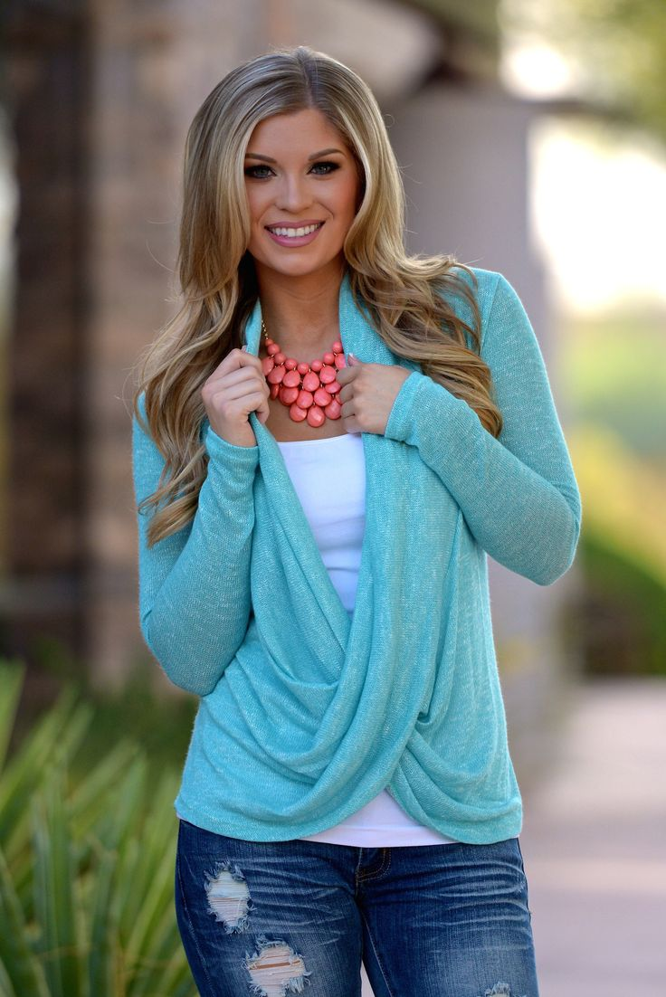 """Cross Over Sweater - Knit - Mint from Closet Candy Boutique - - - - - Promo code """"repashley"""" for 10% OFF + FREE shipping!!"""