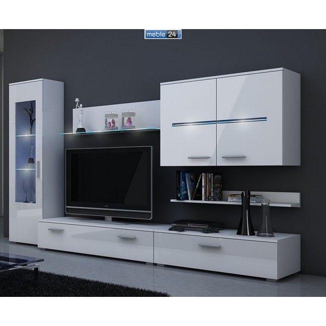 Biała czarna meblościanka vip ROSA 255/161/42 cm
