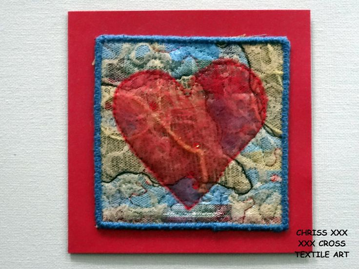 Kunstkaart / Mail Art van Kunst per post Afmeting kaart: 13x13cm (bxh) Afmeting kunstwerk: 10x10cm (bxh)  Kleur: rood - blauw