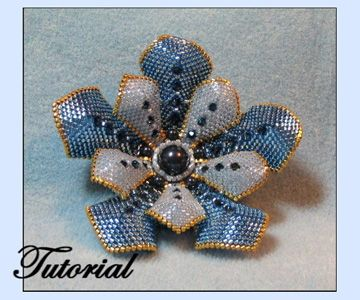 Flower Pearl Beaded Brooch by Paula Adams AKA Visions by Paula at Bead-Patterns.com
