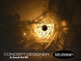 luminaire design concept innovant avec ombre portée au mur - luminaire design loft modele HARLEY DAVIDSON