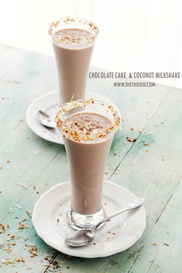 Chocolate Cake and Coconut Milkshake | www.diethood.com | A Chocolate Cake and Coconut Milk Shake - you can have your cake, and drink it, too! | #recipe #chocolateparty #milkshake