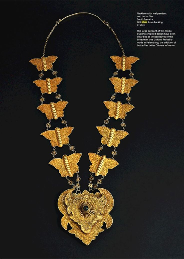 Necklace with leaf pendant and butterflies. South Sumatra. Gilt silver, brass backing || Ethnic Jewellery from Indonesia: Continuity and Evolution By Bruce W. Carpenter, page 117