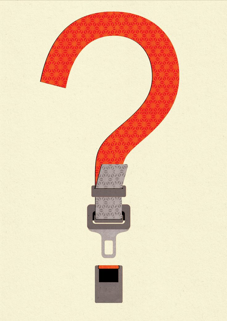 components: a question mark + seatbelt  What is the communication message?