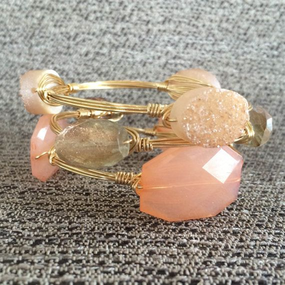 Blush Drusy Handmade Wire Wrapped Bangle by CYPJewelry on Etsy