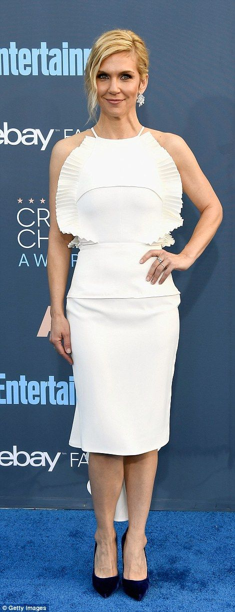 Nailed it: Rhea Seehorn and Sarah Paulson (wearing Vera Wang) were super chic in white pen...