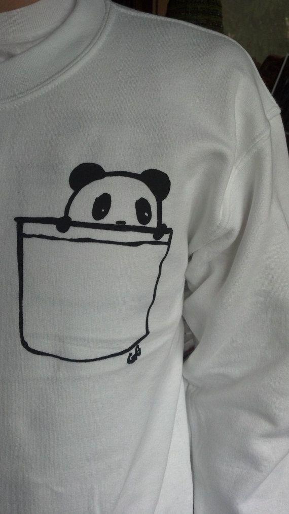 Panda de bolsillo suéter de cuello redondo por GingyCake en Etsy