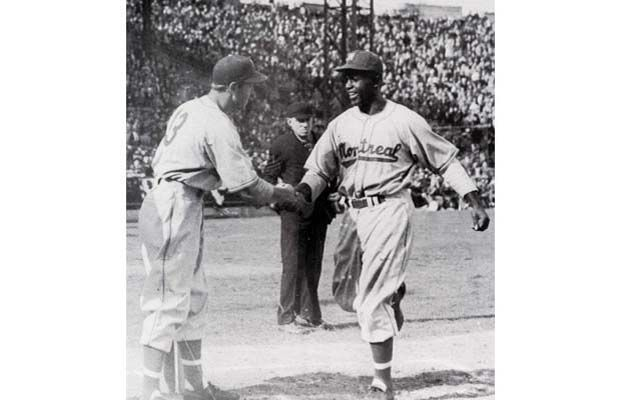 On this day in 1946, Jackie Robinson broke the colour barrier of pro baseball's modern era, playing his first game with the Triple-A International League Montreal Royals, the top farm club of the Brooklyn Dodgers.