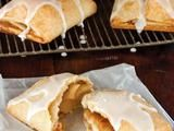 Williamsburg Wrapples. I made these the way they make them in Williamsburg by making one giant roll covered in small diced apples and cut so that the sides are open. Surprisingly, the filling did not fall out! Yummy apple pies you can hold in your hand.