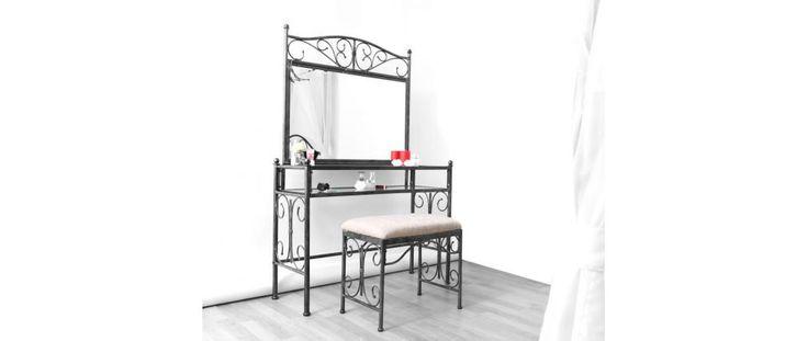 Coiffeuse baroque métal noir VICTORIA - Miliboo
