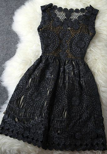 Vintage Gold Thread Hollow Out Embroidery Dress