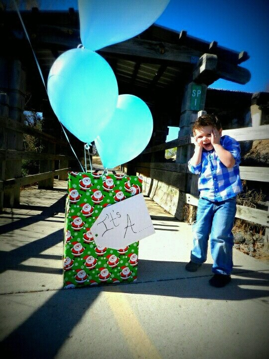 Our Gender Reveal with Big brother. Around christmas time.