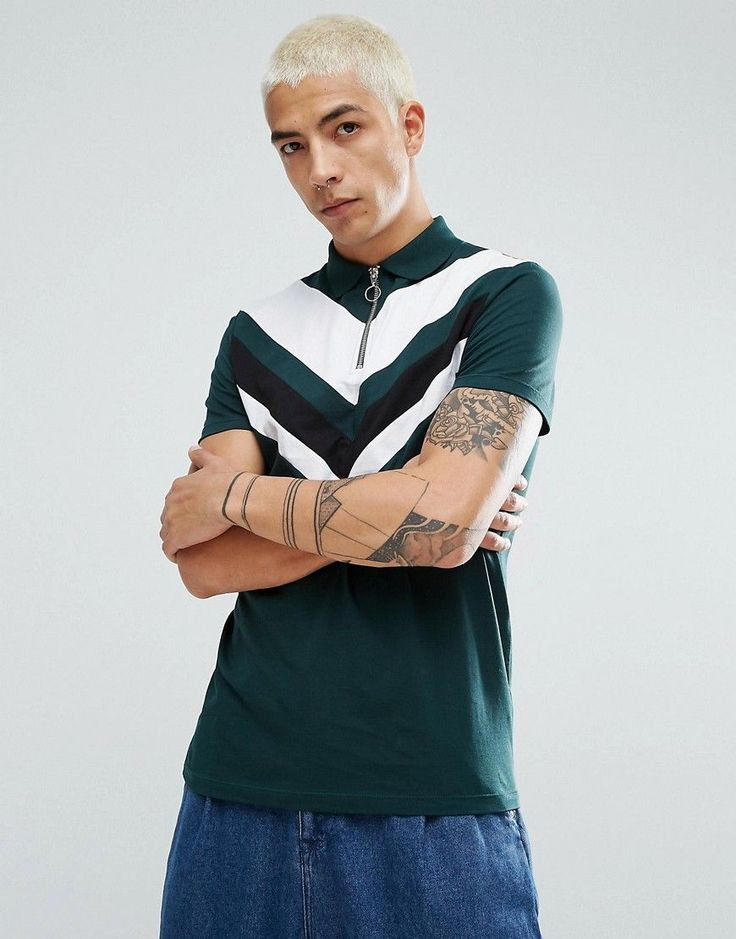 ASOS Zip-Neck Polo Shirt With Chevron Cut And Sew - Green