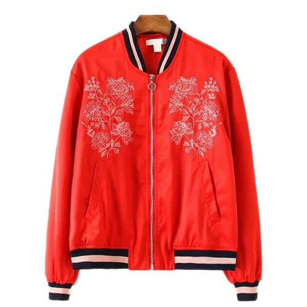 Chicnova Fashion Bomber Jacket (1,510 DOP) ❤ liked on Polyvore featuring outerwear, jackets, blouson jacket, red flight jacket, embroidered jacket, zip jacket and red zip jacket