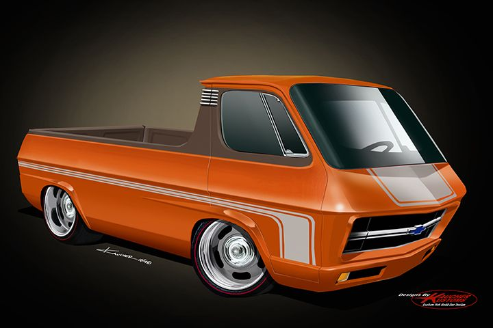 concept pick up van built from a 62 70 chevy sportvan design by kaucherkustoms in 2020 custom cars paint custom cars automotive artwork 62 70 chevy sportvan design