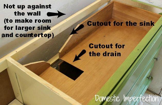 How to convert dresser to bathroom vanity