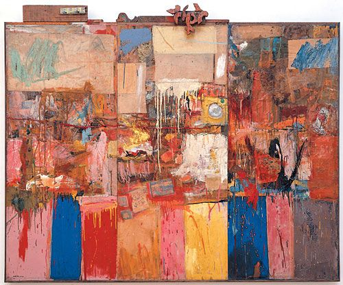 "Robert Rauschenberg. Collection (formerly Untitled), 1953-54, oil, paper, fabric, wood, metal, mirror on three wood panels, 79"" x 95 3/8"" x 3 3/4""."
