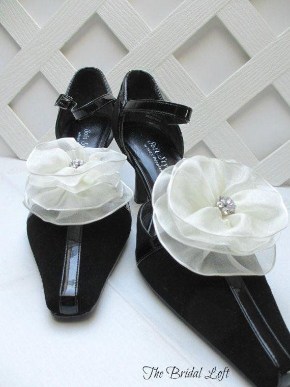 Elegant Ivory Shoe Clips with Stunning Swarovski Crystal Rhinestones by Bridal Loft on Etsy