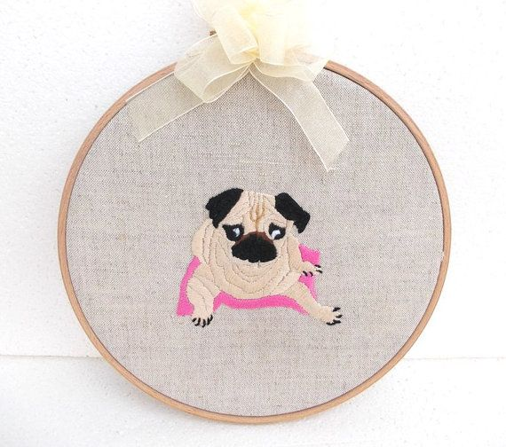 hoop art pet pug hand embroidered  pug embroidered by embroidream, $40.00