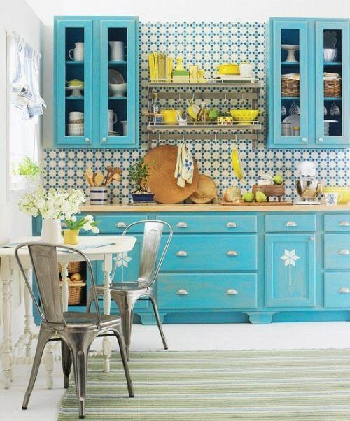 türkise blau grüne Küche Gestaltung
