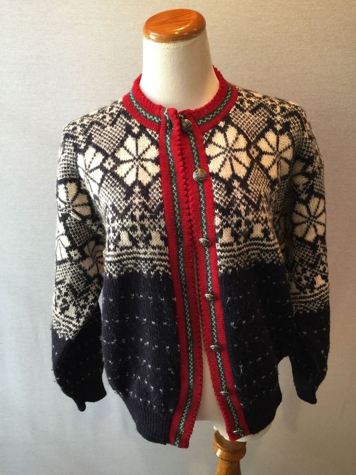 ALPS Merrimac Valley Navy Blue Red Nordic Wool Cardigan Sweater Large L #Alps #Cardigan