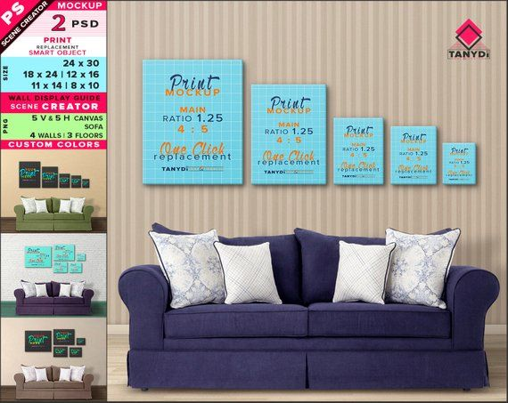 Wall Display Guide 24x30 18x24 12x16 11x14 8x10 Scene Creator Photoshop Print Mockup Vertical Horizontal Canvas Blue Sofa Interior 9 5c Wall Display Blue Sofa Interior
