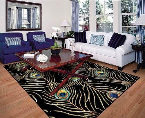 Beautiful Peacock Area Rug Blue And White Sofa Living Room Decor Ideas