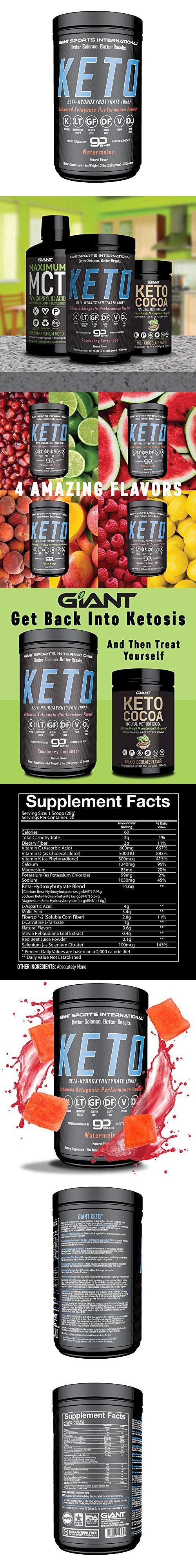 Giant Keto-Exogenous Ketones Supplement - Beta-Hydroxybutyrate Keto Powder Designed to Support Your Ketogenic Diet, Boost Energy and Burn Fat in Ketosis - Watermelon - 20 servings