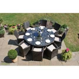 Rattan étkező garnitúra 8 személyes asztal és 8 szék