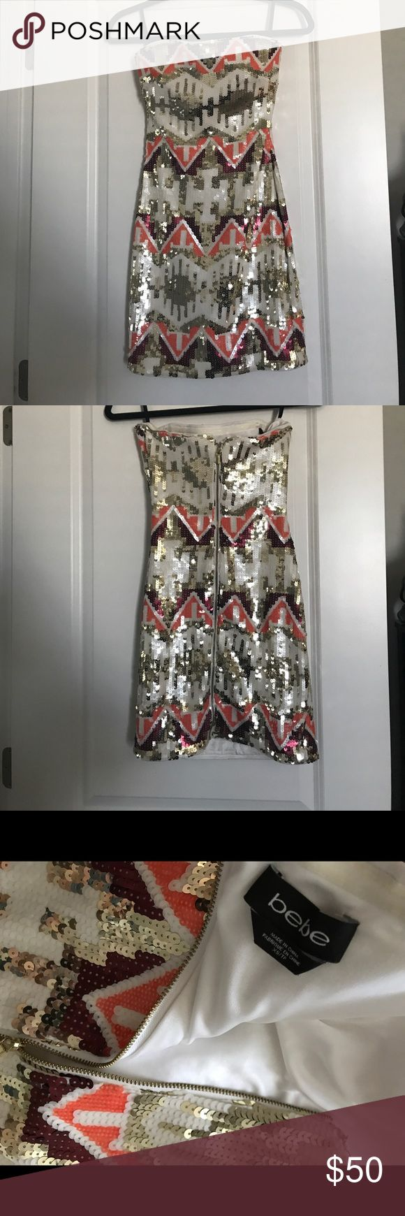 Bebe strapless sequin dress! XS White, gold, maroon, and orange sequin Bebe mini dress! Sz. Xs! Worn ONCE! EUC plus I will throw in an Aldo purse that can be worn as a clutch or shoulder bag for FREE! bebe Dresses Mini