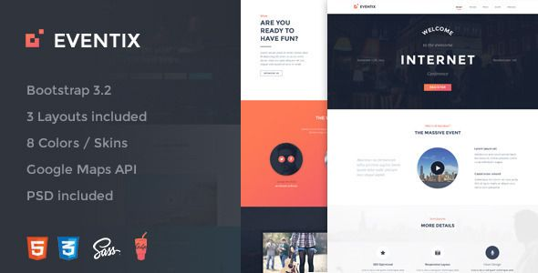 Eventix is the ultimate bootstrap 3 landing page WordPress theme for your events with different home page styles and color variations it fit your needs and your brand, it was designed to rise your...