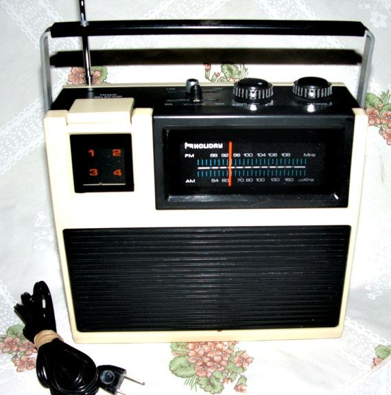 Mid Century Funky Portable Radio & 8 Track Player 1970's Era