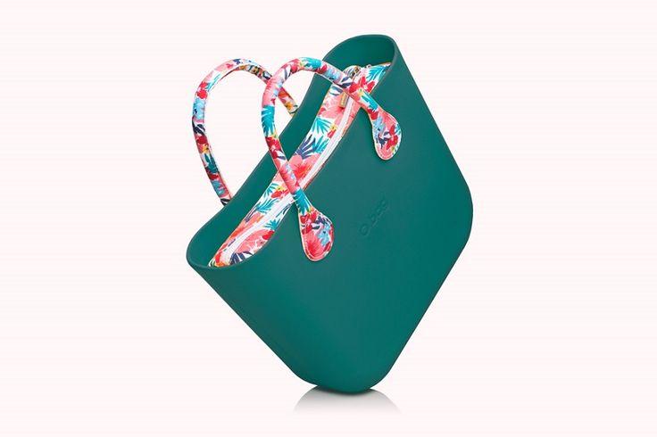 O bag mini petrolio con Kit canvas hawaiano e manici corti in cotone.