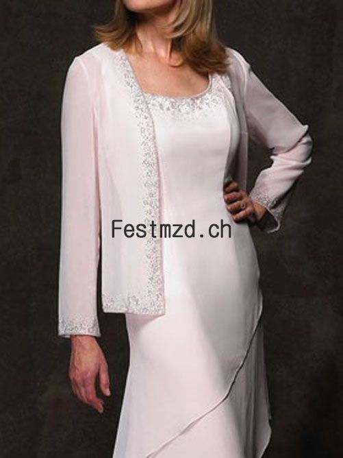 Weiß Layer Chiffon Embroider Brautmutterkleider