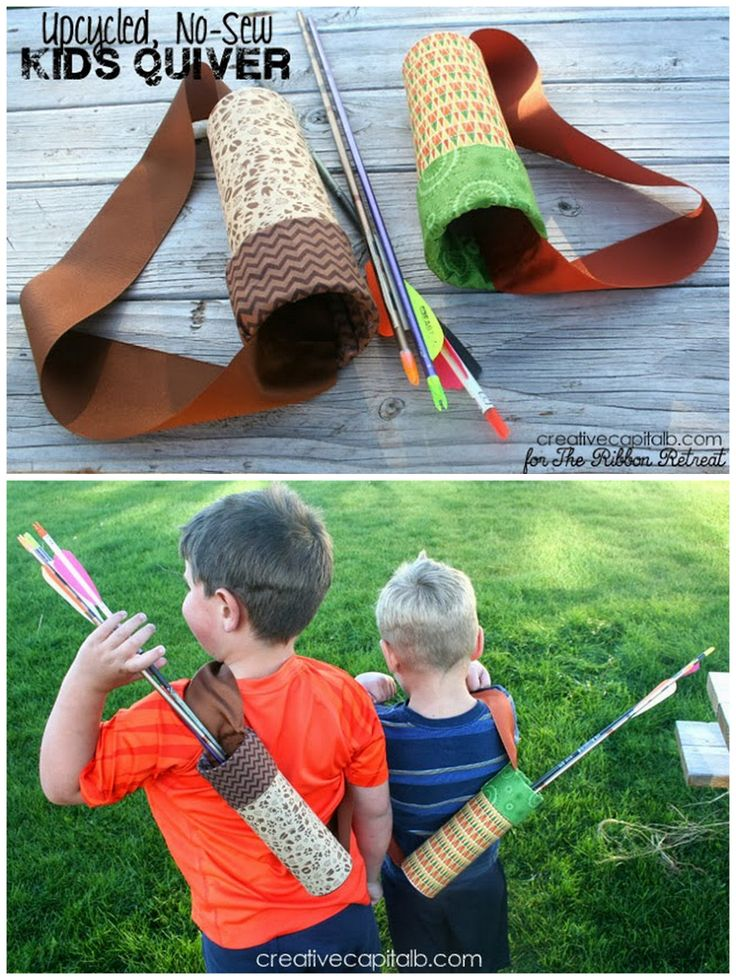 DIY No Sew Arrow Quiver Tutorial from Capital B here.  Really easy because a Pringles can is used as the quiver.