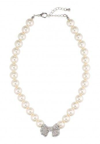 Perlenkette Wachsperlen mit silberfarbener Schleife, creme-silber