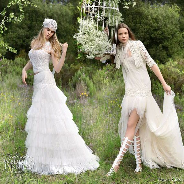 Yolan Cris romantic wedding dresses Alquimia 2010 collection - Lea tiered gown and Celeste short to long dress