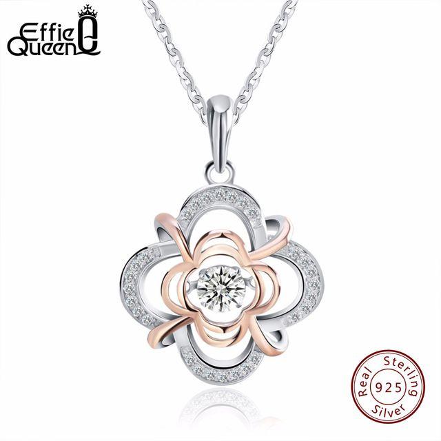 Superb Price $11.02, Buy Effie Queen 100% 925 Sterling Silver Material Women Necklace Jewelry Flicker Cubic Zircon Pendants & Necklaces BN14