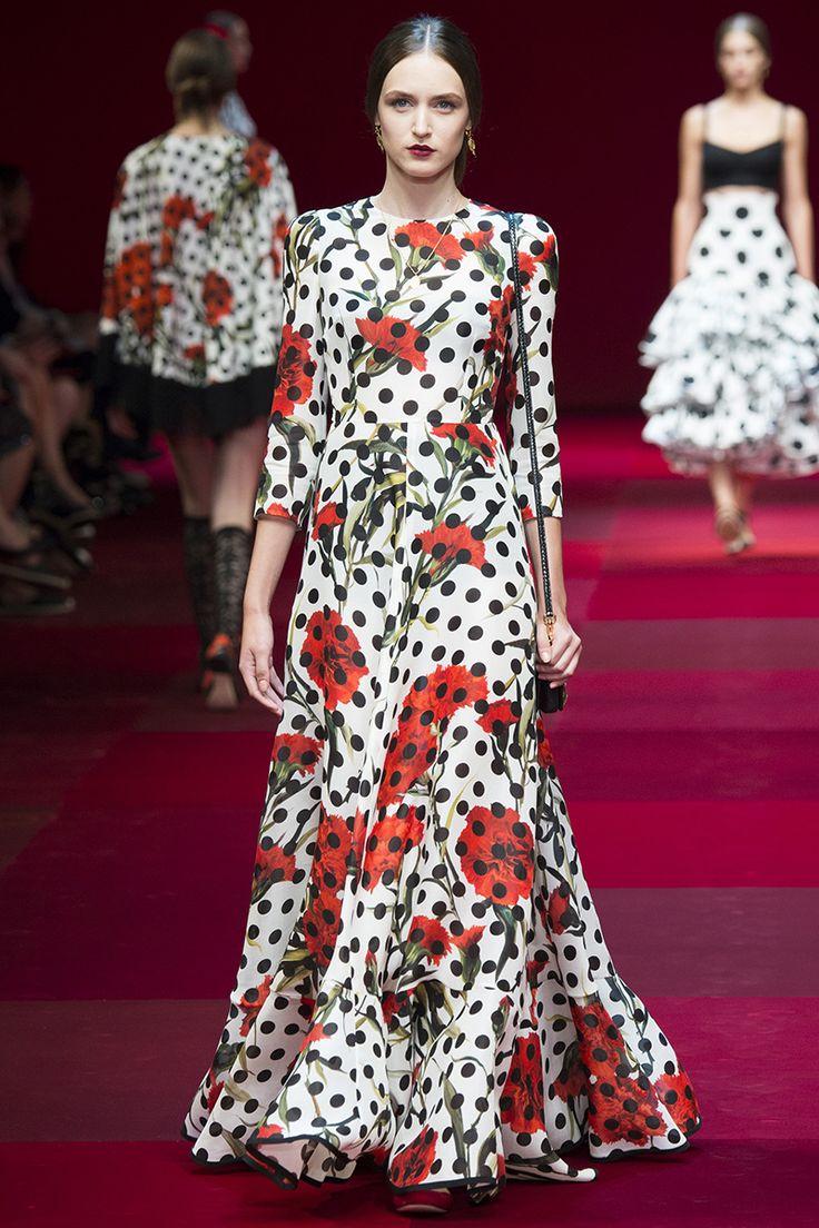 Dolce & Gabbana Spring 2015 RTW Floral & Polka Dot dress