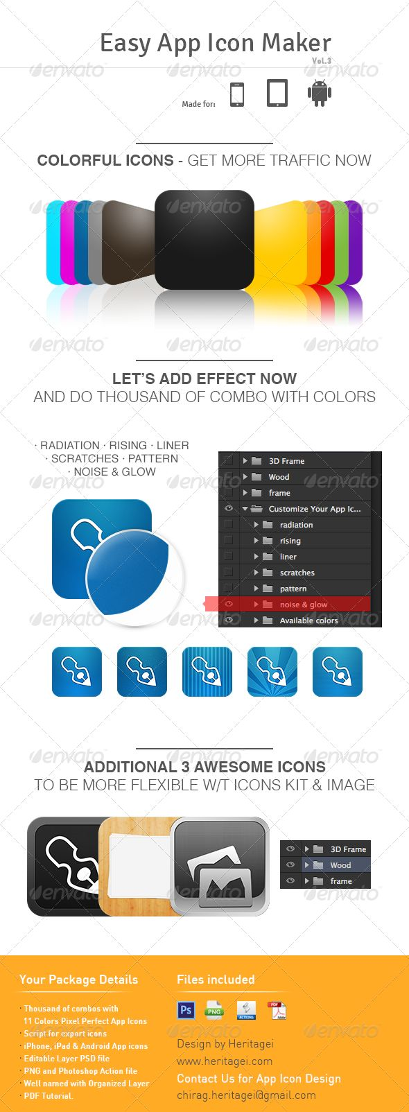 Easy App Icon Maker v 3.0 by uijunction Create thousand combo using 11 colorful icons and play with additional texture, pattern and effects. Easy App icon maker is really