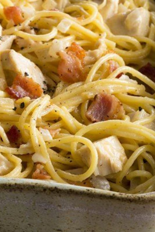 This creamy, fragrant pasta dish is the perfect use for leftover chicken—and it's one of Betty's most popular dinner recipes. Have a taste of Italy on the table in 30 minutes; we bet it will take a fraction of that time for it to disappear (especially since there's bacon involved).