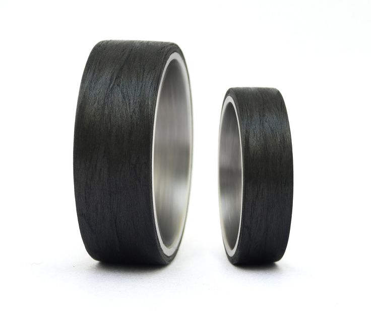 Carbon Fiber  Titanium Wedding Rings by Rosler on Etsy